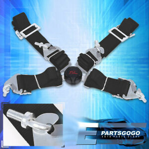 4 Point 2 Camlock Quick Release Racing Seat Belt Harness Nylon Black For Nissan