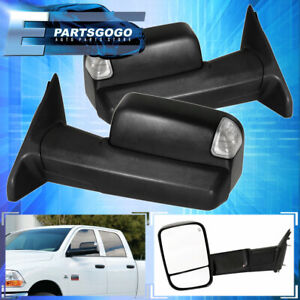For 09 18 Dodge Ram 1500 Power Heated Puddle Led Signal Tow Towing Side Mirrors