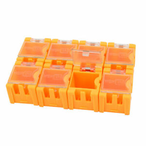 8 Pcs Clear Cover Plastic Electronic Components Storage Box Rectangle Shape