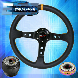 Godsnow Black Yellow Steering Wheel Neo Chrome Quick Release For 03 15 Civic