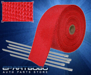 30ft X 2 X 1 5mm Heat Wrap Thermo Shield Exhaust Pipe stainless Zip Tie Red