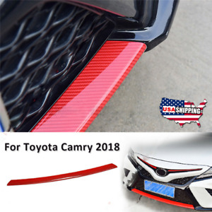 For 2018 19 Toyota Camry Red Front Bumper Lip Cover Lower Trim Carbon Fiber Look