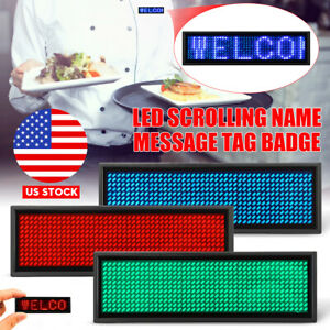 Led Programmable Digital Display Scrolling Message Tag Name Badge Moving Sign