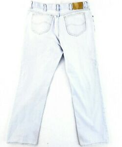 Vintage Lee 38x32 USA MADE Blue Jeans Faded Straight Leg Classic 80s Grunge $29.43