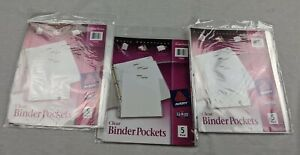 Lot Of 3 Avery 75243 Clear Binder Pockets 5 Pk 15 Total 9 1 4 x11 3 Hole Punch