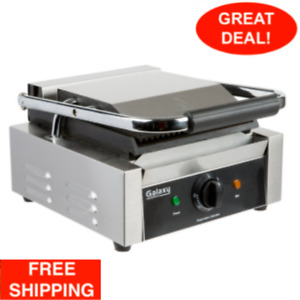 Commercial Single Panini Sandwich Press Grill W grooved Top Restaurant Equipment