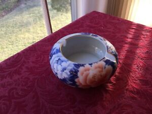 Japanese Fukagawa Setii Coral Color Peony Famille Rose Porcelain Ashtray