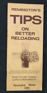 Vintage 1972 Remington#x27;s Arms Peters Tips on Better Reloading Pamphlet $4.99