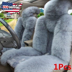 1pcs Gray Fluffy Faux Sheepskin Wool Car Seat Cover Winter Soft Decor Universal