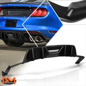 For 15 17 Ford Mustang Quad Fin Side Valve Rear Bumper Diffuser Lower Spoiler