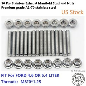 Exhaust Manifold Header Stud Nuts Kit For Ford F150 V8 4 6l 5 4l Stainless Steel