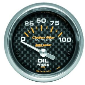 Auto Meter Carbon Fiber 52mm 100 Psi Electronic Oil Pressure Gauge