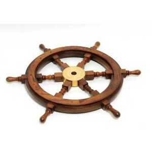 36 X 36 X 2 Ship Wheel Rosewood Quality Perfect For The Home Office