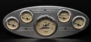 1932 1933 1934 Ford Truck 5 Gauge Dash Panel Insert Polished Mechanical Tan