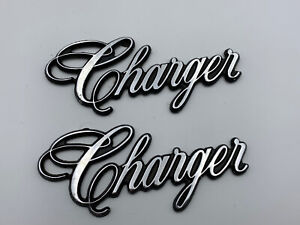 2 Original Vintage Metal Car Emblem Script Dodge Charger