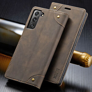 Slim Magnetic Flip Cover Card Leather Wallet Case For Samsung Galaxy S21 Ultra