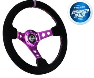 New Nrg Deep Dish Steering Wheel 350mm Black Suede Purple Center Rst 006s Pp