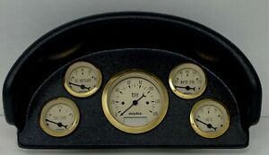 1956 Ford Truck Abs Dash Panel 5 Gauge Programmable Gold