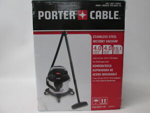 Porter Cable Pcx18301 4c Stainless Steel 4 Gallon Wet dry Vacuum 15 1 Liters