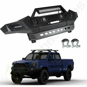 Black Textured Front Bumper For 05 15 Toyota Tacoma With Winch Plate led Lights