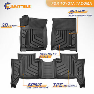 Set Rubber Black Floor Mats Liners Foot Pads For 2016 2021 Toyota Tacoma Trd Pro