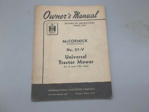 International Harvester Mccormick No 27 v Universal Tractor Mower Owners Manual