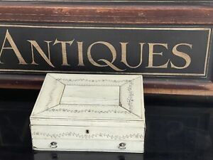 Rare Antique 19th Century Anglo Indian Sewing Box With Silver Handles