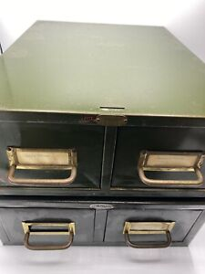Two Vintage 2 Drawer 5x7 Index Card File Boxes Army Green One Is Tagged Humboldt
