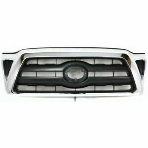 Front Grille Chrome black Fits 2005 2006 2007 2008 2009 2010 2011 Toyota Tacoma