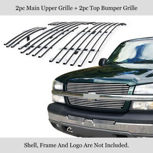 Fits 2003 2004 Chevy Silverado 1500 2500 Stainless Chrome Billet Grille Combo