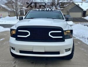 Matte Black Led Grille For 13 18 Dodge Ram 1500 Replacement Upper