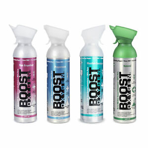 Boost Oxygen Natural Portable 10 Liter Pure Oxygen Variety Canister 4 Pack