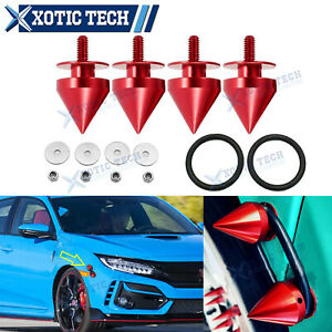 Red Spike Style Quick Release Fastener Kit Fit For Honda Accord Civic 2000 2021