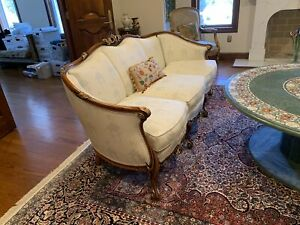French Louis Xvi Style Antique 3 Cushion Sofa With Gold Acanthus Scroll
