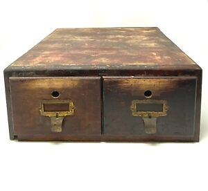 Vintage Imperial Office 2 Drawer Wooden Card Catalog File Cabinet Brass Accents