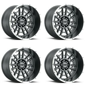Set 4 20x10 Vision 418 Widow Grey Machined Lip Wheels 6x5 5 25mm Lifted W Lugs