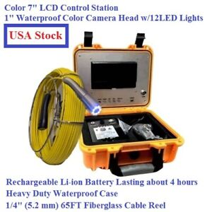 Sewer Drain Pipe Waterproof Inspection Snake 1 Color Camera 7 Lcd 65 Ft Cable