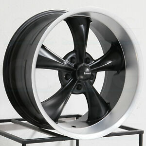 18x8 18x9 5 Ridler 695 5x4 75 5x120 65 0 6 Black Machined Lip Wheels Rims Set 4