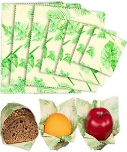 Organic Beeswax Food Wraps Reusable Beeswax Paper Wrap leaves Bees 7 Wraps
