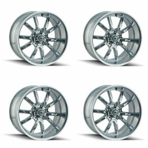 Set 4 15x8 Ridler 650 Chrome 5x4 5 Wheels 0mm Rims W Lugs