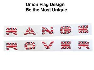 Union Flag Hood Trunk Letter Logo Badge For Range Rover Sport Evoque 2pcs