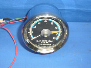 Vintage Sun 8k Blue Line Tachometer Sst 802 With Chrome Cup Day 2 Ct13