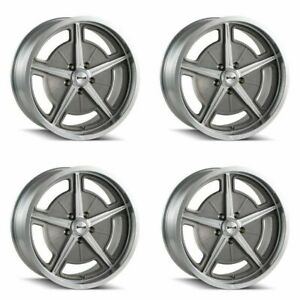 Set 4 18x9 5 Ridler 605 Machined Spokes Lip 5x4 75 Wheels 0mm Rims W Lugs