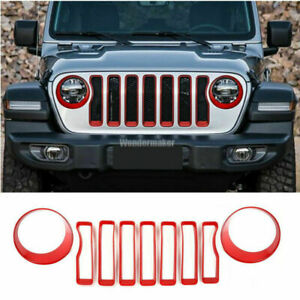 Red Front Grille Grill Insert Cover Trim For Jeep Wrangler Jl 2018 2020 Replace