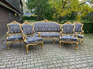 French Louis Xvi Sofa Set With 4 Chairs In Dark Blue Worldwide Shipping