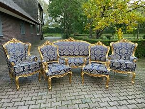 French Louis Xvi Sofa Set With 2 Chairs And 2 Easy Chairs In Dark Blue