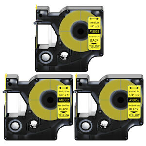 3 Heat Shrink Tube Label Ind Tape Black On Yellow 18052 For Dymo Rhino 4200 1 4