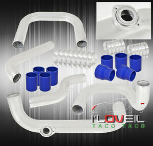 For 94 01 Integra B Series Bolt On Polish Turbo Piping Kit Blue Couplers Adapter