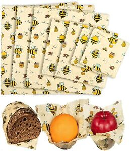 Organic Beeswax Food Wraps Reusable Beeswax Paper Wrap bees Leaves 7 Wraps