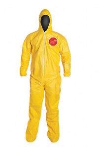 Case Of 12 Dupont Tychem Tyvek Qc122symd001200 Coverall Chemical Suit Medium